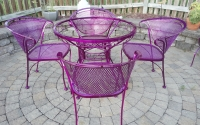 Powder Coated Metal Patio Furniture, Table and Chairs